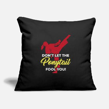 "Girl Taekwondo girl ponytail - Throw Pillow Cover 18"" x 18"""