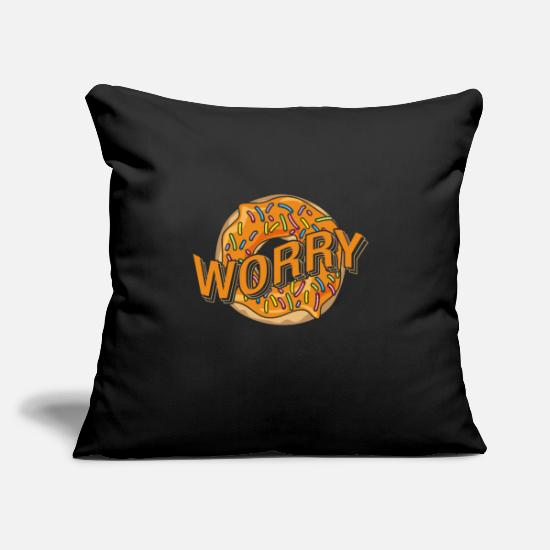"Gift Idea Pillow Cases - Donut food sweets food gift - Throw Pillow Cover 18"" x 18"" black"