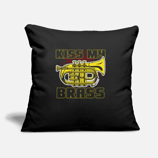 "Festival Pillow Cases - Trumpet Brass music instrument - Throw Pillow Cover 18"" x 18"" black"