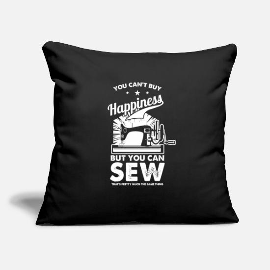 "Gift Idea Pillow Cases - Sewing Sewer happiness - Throw Pillow Cover 18"" x 18"" black"