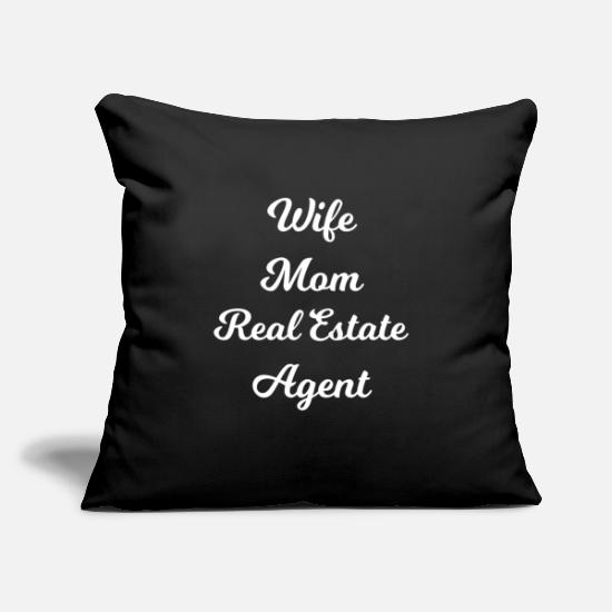 "Birthday Pillow Cases - Wife Mom Real Estate Agent - Throw Pillow Cover 18"" x 18"" black"