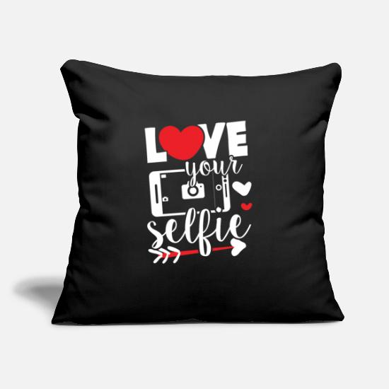 "Bride Pillow Cases - Love your Selfie photography photo handy smartfon - Throw Pillow Cover 18"" x 18"" black"