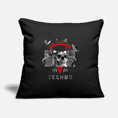 "Dj-octopus-music Less Drama More Techno Skull Hardstyle Design Tee - Throw Pillow Cover 18"" x 18"""