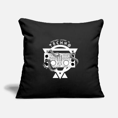 "Dj-octopus-music Everybody Listens Techno Squid Harstyle Tshirt - Throw Pillow Cover 18"" x 18"""