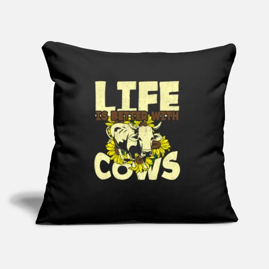 "Women Pillow Cases - Life is better with cows cow farmer sunflowers - Throw Pillow Cover 18"" x 18"" black"