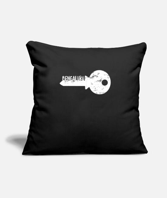 "Reminder Pillow Cases - Bengaluru Bengalore Key - Throw Pillow Cover 18"" x 18"" black"