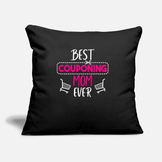 "Coupon Shirt Pillow Cases - Best couponing mom ever - Throw Pillow Cover 18"" x 18"" black"