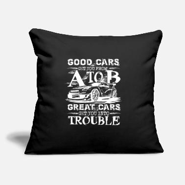 "Great cars get you into trouble cool vintage racer - Throw Pillow Cover 18"" x 18"""