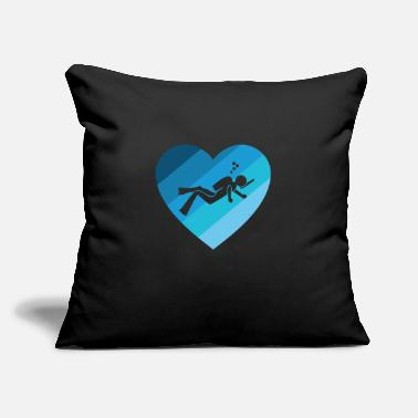 "Shade Diver Design Shade of Blue Heart Cool Gift Idea - Throw Pillow Cover 18"" x 18"""