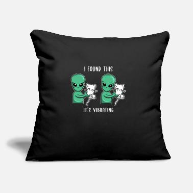 "Alien Cat Alien abduction kitty vibrating ufology gift - Throw Pillow Cover 18"" x 18"""