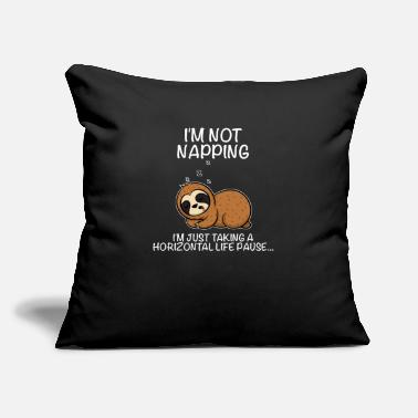 "Drinking I'm not napping I'm just taking a sloth pause - Throw Pillow Cover 18"" x 18"""