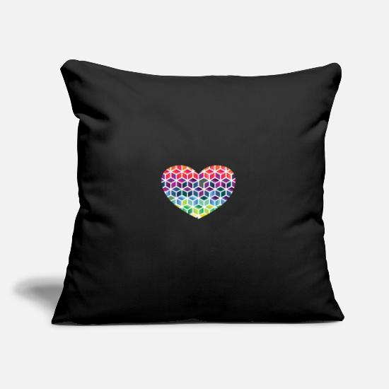"Love Pillow Cases - colorful pattern | colorful colored blob gift - Throw Pillow Cover 18"" x 18"" black"