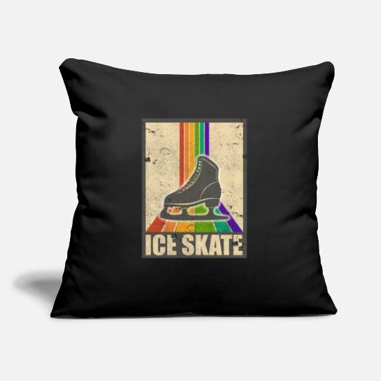"Skateboard Pillow Cases - Ice Skate Retro Rainbow Vintage - Throw Pillow Cover 18"" x 18"" black"