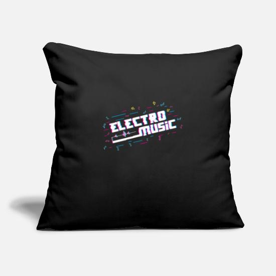 "Birthday Pillow Cases - Electro Music Note - Throw Pillow Cover 18"" x 18"" black"