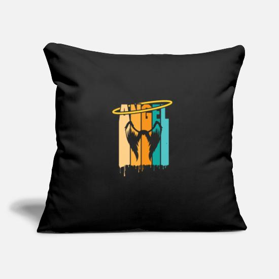 "Gift Idea Pillow Cases - Angel with Halo and Wings Colorful - Throw Pillow Cover 18"" x 18"" black"