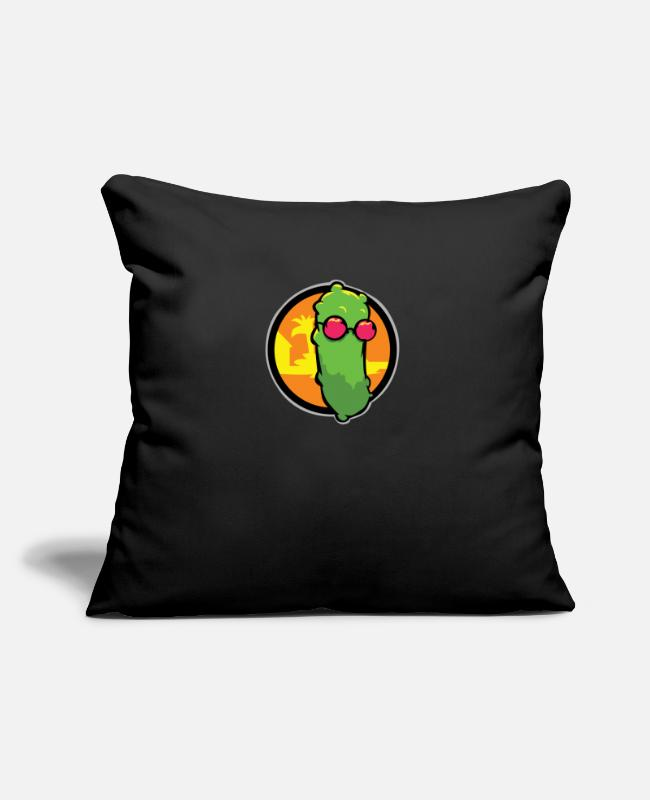 "Cucumber With Sunglasses Pillow Cases - Cucumber with sunglasses - Throw Pillow Cover 18"" x 18"" black"