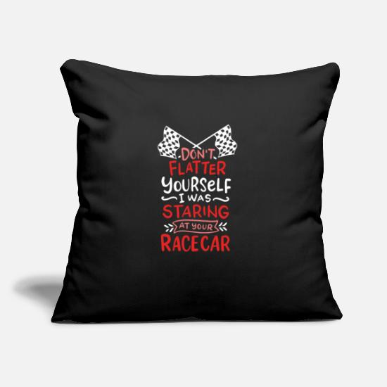 "Dirt Pillow Cases - RACE CAR: Don't Flatter Yourself - Throw Pillow Cover 18"" x 18"" black"