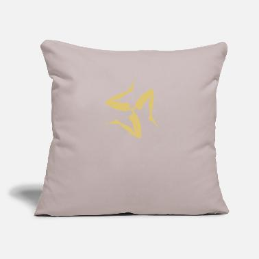 "Sea Noise Sicilian Three Legs Symbol in Japanese Gold | - Throw Pillow Cover 18"" x 18"""