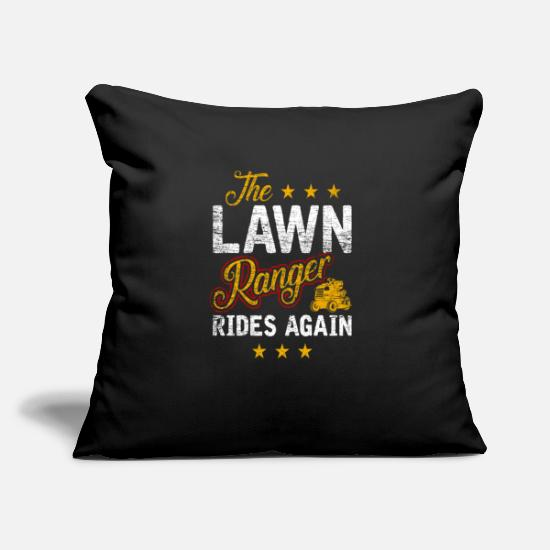 "Gift Idea Pillow Cases - Lawn mowing Word play Pun - Throw Pillow Cover 18"" x 18"" black"