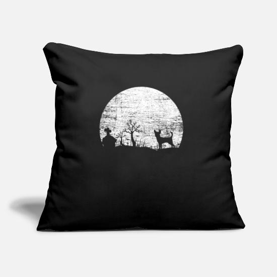 "Gift Idea Pillow Cases - Chihuahua Cemetery Halloween - Throw Pillow Cover 18"" x 18"" black"