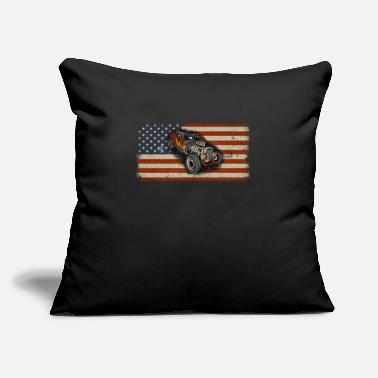 "Speedometer Hot Rod Drag Racing Racecar American Flag Design - Throw Pillow Cover 18"" x 18"""