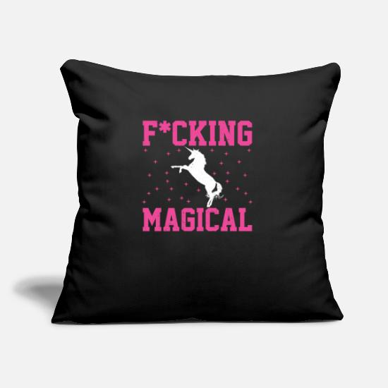 "Love Pillow Cases - rainbow unicorns Colorful uni Quote funny awesome - Throw Pillow Cover 18"" x 18"" black"