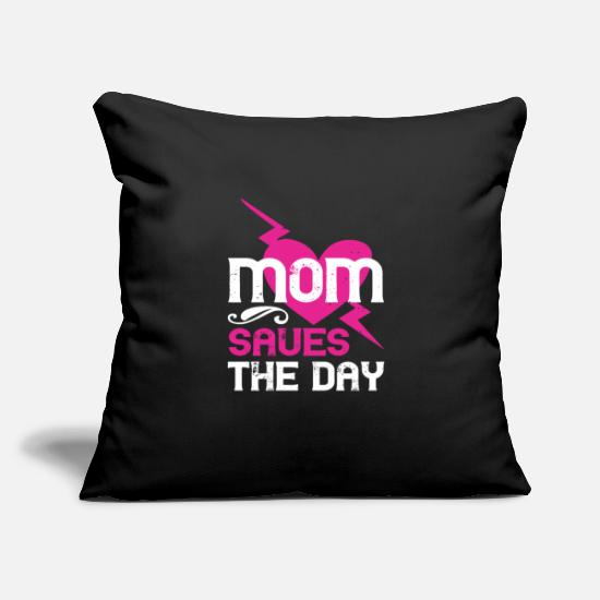 "Love Pillow Cases - Mom Saues The Dya - Throw Pillow Cover 18"" x 18"" black"