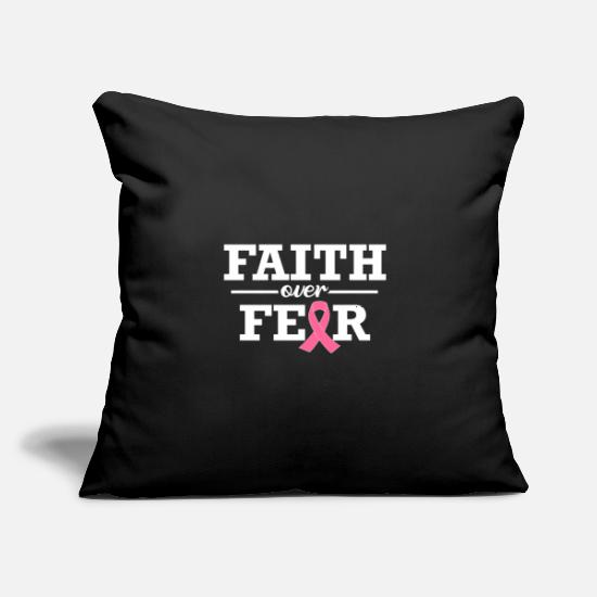 "Love Pillow Cases - Faith Over Fear Breast Cancer Awareness Support - Throw Pillow Cover 18"" x 18"" black"