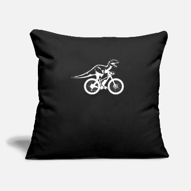 "Cyclist Bicycle Dinosaur Cyclist Dino Funny - Throw Pillow Cover 18"" x 18"""