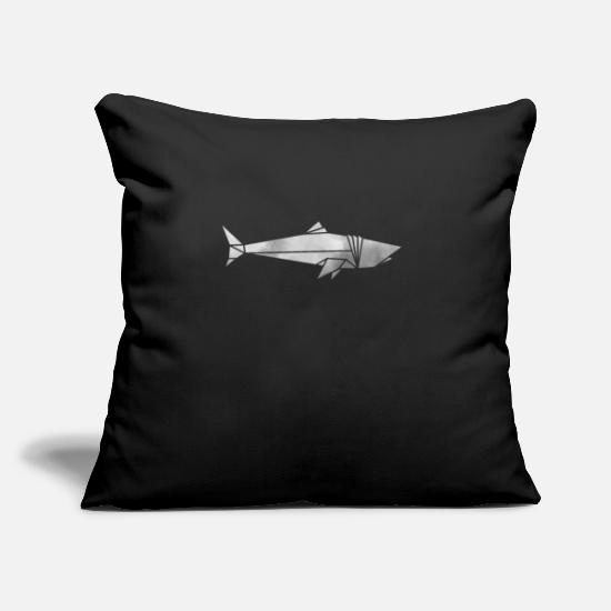 "Shark Pillow Cases - Shark Shark Origami geometric sharks polygon - Throw Pillow Cover 18"" x 18"" black"