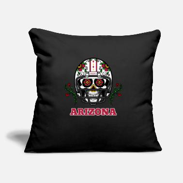 "Arizona Football Helmet Sugar Skull - Throw Pillow Cover 18"" x 18"""