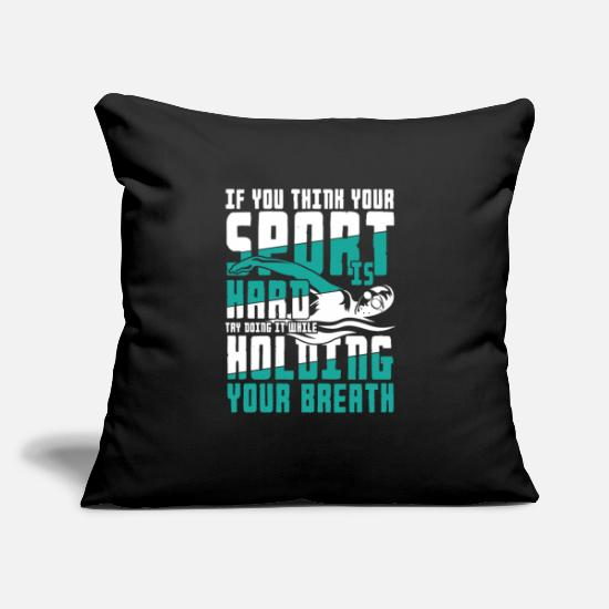 "Sealife Pillow Cases - Holding your Breath | swimming sport gift - Throw Pillow Cover 18"" x 18"" black"