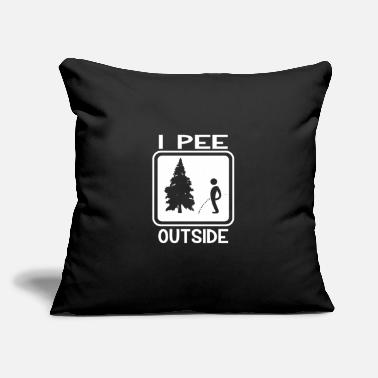 "Restroom Hiking Camping I Pee Outside Funny Camper Nature - Throw Pillow Cover 18"" x 18"""