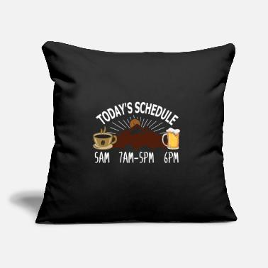 "Hiking Today's Schedule Plan Hiking Camping Beer Coffee - Throw Pillow Cover 18"" x 18"""