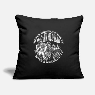 "Bike Never Underestimate An Old Man With A Motorcycle - Throw Pillow Cover 18"" x 18"""