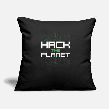 "Hack Hack the planet hacker quote - Throw Pillow Cover 18"" x 18"""