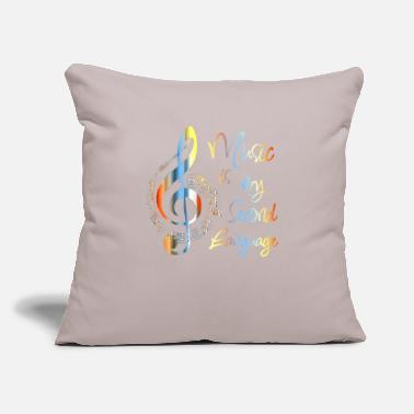 "Music Music is my second language - Throw Pillow Cover 18"" x 18"""