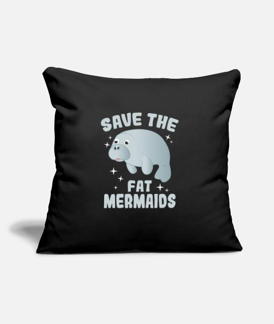"Mammal Pillow Cases - Save The Fat Mermaids Manatees Lover Gift - Throw Pillow Cover 18"" x 18"" black"