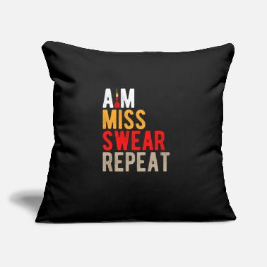 "Aim Miss Swear Repeat Funny Darts Gift - Throw Pillow Cover 18"" x 18"""