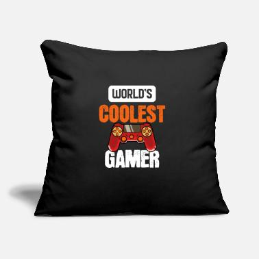 "Excited Worlds Coolest Gamer - For Gamers - Throw Pillow Cover 18"" x 18"""