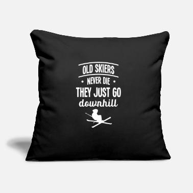 "Freezing Old Skiers never die - For Skiers - Throw Pillow Cover 18"" x 18"""