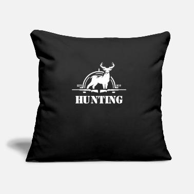 "Hunting Club Hunter Hunt Hobby Deer - Throw Pillow Cover 18"" x 18"""