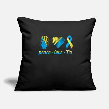 "Teaching Peace Love T21 Down Syndrome Awareness Sped Teache - Throw Pillow Cover 18"" x 18"""