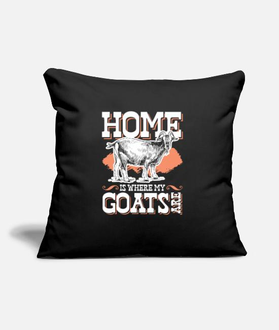 "Better Life Pillow Cases - Home Is Where My Goats Are - Throw Pillow Cover 18"" x 18"" black"