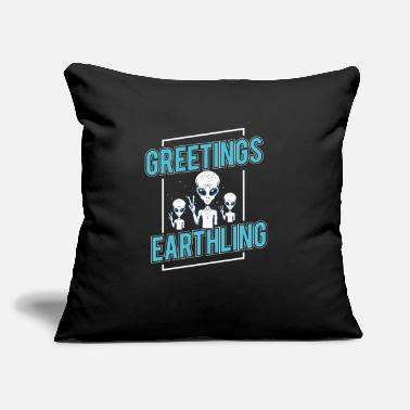 "Alien Greetings Earthlings alien shirt space science - Throw Pillow Cover 18"" x 18"""