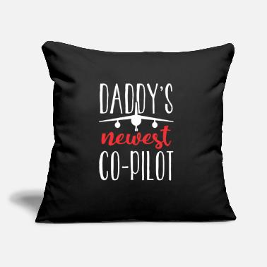 "Drone Daddy's Newest Co-Pilot Jet Aircraft Airplane - Throw Pillow Cover 18"" x 18"""