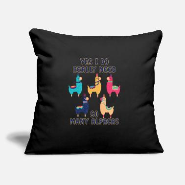 "Evening Yes I do really need so many Alpacas - Throw Pillow Cover 18"" x 18"""