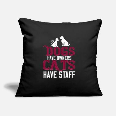 "Crazy Cat Lady Dogs Have Owners Cats Have Staff - Throw Pillow Cover 18"" x 18"""