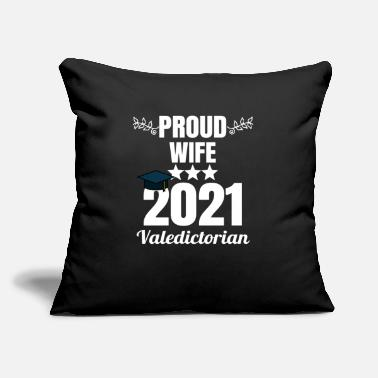 "College Proud Wife of a 2021 Valedictorian Graduate Gradua - Throw Pillow Cover 18"" x 18"""