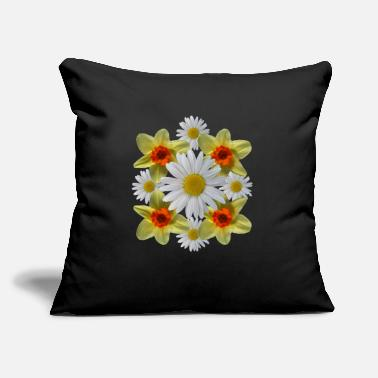 "daisies floral bloom daisy spring daffodil florets - Throw Pillow Cover 18"" x 18"""